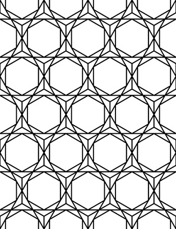 sacred geometry: modern seamless sacred geometry pattern hexagon, black and white abstract geometric background
