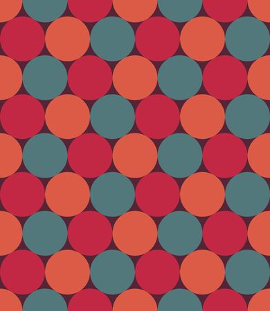 rouge et bleu: modern seamless colorful geometry pattern, circles, color red blue orange, abstract geometric background