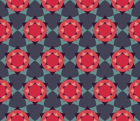 petal: Vector modern seamless colorful geometry petal flower mandala pattern, color blue red abstract geometric background, trendy multicolored print, retro texture, hipster fashion design
