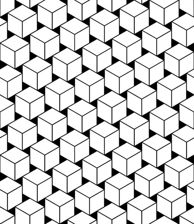 trippy: Vector modern seamless geometry pattern cubes, black and white abstract geometric background, trendy print, monochrome retro texture, hipster fashion design