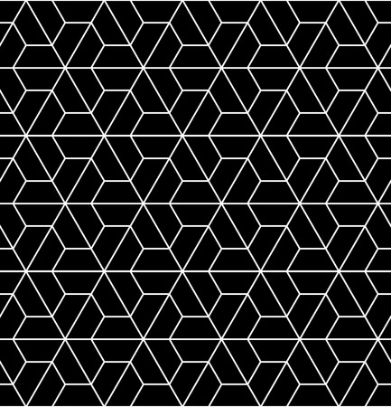 Vector modern seamless  sacred geometry pattern, black and white abstract geometric background, trendy print, monochrome retro texture, hipster fashion design Ilustração