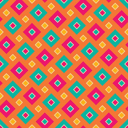 Vector modern seamless colorful geometry square pattern, color abstract geometric background, pillow multicolored print, retro texture, hipster fashion design Stock Illustratie