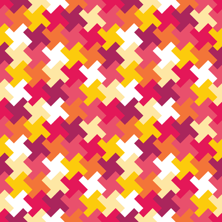 Vector modern seamless colorful geometry puzzle pattern, color abstract geometric background, pillow multicolored print, retro texture, hipster fashion design