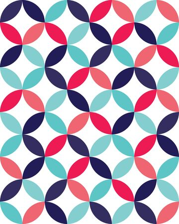 circle pattern: Vector modern seamless colorful geometry overlapping circles pattern, color abstract geometric background, pillow multicolored print, retro texture, hipster fashion design