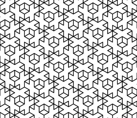 Vector modern seamless sacred geometry pattern 3d, black and white abstract geometric background, pillow print, monochrome retro texture, hipster fashion design 向量圖像