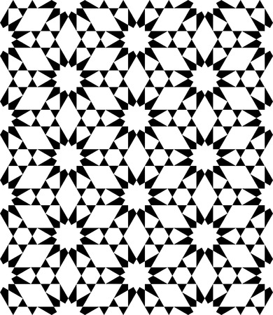 Vector modern seamless sacred geometry pattern stars, black and white abstract geometric background, pillow print, monochrome retro texture, hipster fashion design