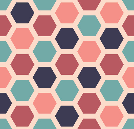 textile pattern: Vector modern seamless colorful geometry hexagon pattern, color abstract geometric background, pillow multicolored print, retro texture, hipster fashion design