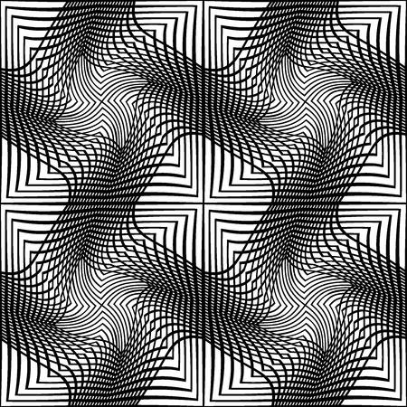 Vector de arte moderno geometría sin fisuras patrón línea, Fondo geométrico abstracto blanco y negro, impresión de almohada, blanco y negro retro textura, diseño de moda inconformista