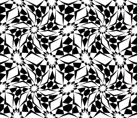 trippy: Vector modern seamless sacred geometry pattern trippy, black and white abstract geometric background, pillow print, monochrome retro texture, hipster fashion design Illustration