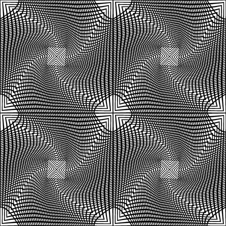 fashion art: Vector modern seamless geometry pattern line art, black and white abstract geometric background, pillow print, monochrome retro texture, hipster fashion design Illustration