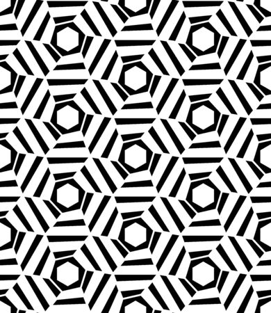 trippy: Vector modern seamless geometry pattern hexagon trippy, black and white abstract geometric background, pillow print, monochrome retro texture, hipster fashion design