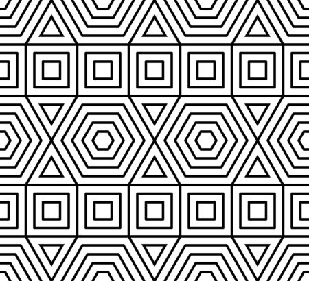 Vector modern seamless geometry pattern , black and white abstract geometric background, pillow print, monochrome retro texture, hipster fashion design