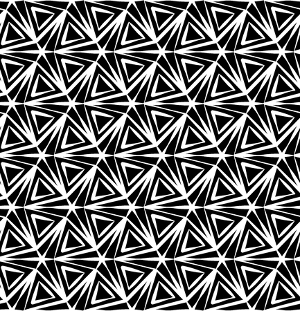three points: Vector modern seamless geometry pattern three point star, black and white abstract geometric background, pillow print, monochrome retro texture, hipster fashion design Illustration