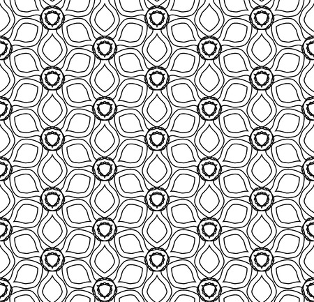 Vector modern seamless geometry drawed floral pattern , black and white abstract geometric background, pillow print, monochrome retro texture, hipster fashion design