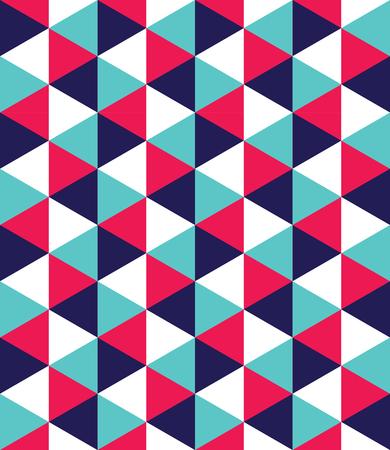 モダンなシームレスなカラフルな幾何学の三角形のパターンをベクトル、抽象的な幾何学的な背景の色、多色印刷、レトロな質感、流行に敏感なフ