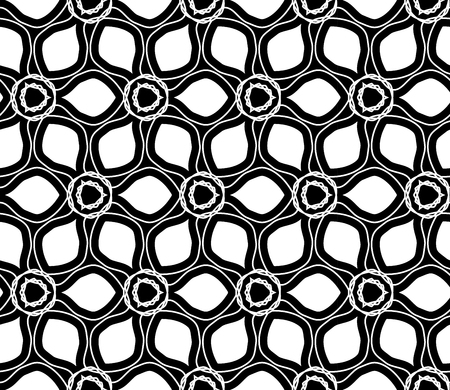 drawed: Vector modern seamless geometry drawed floral pattern , black and white abstract geometric background, pillow print, monochrome retro texture, hipster fashion design