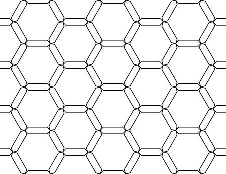 モダンなシームレスな幾何学パターンの六角形、黒と白の抽象的な幾何学的な背景、枕印刷、白黒のレトロな質感、流行に敏感なファッション ・ デ
