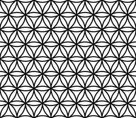 Moderno del vector sin fisuras patrón de flores de la geometría sagrada de la vida, la formación geométrico abstracto en blanco y negro, impresión almohada sutil, blanco y negro retro textura, diseño de moda del inconformista
