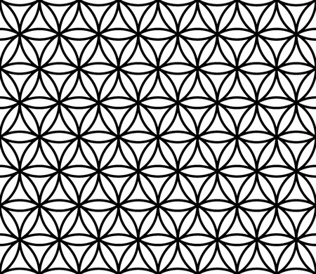 Vector moderne seamless sacré motif géométrique fleur de la vie, noir et blanc abstrait géométrique, subtile oreiller impression, monochrome rétro texture, design de mode hipster