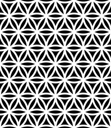 生命、黒と白の抽象的な幾何学的な背景のベクトル モダンなシームレスな神聖な幾何学パターン花微妙な枕印刷、モノクロのレトロなテクスチャー