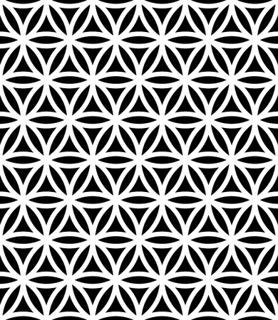 Vector modern seamless sacred geometry pattern flower of life, black and white abstract geometric background, subtle pillow print, monochrome retro texture, hipster fashion design