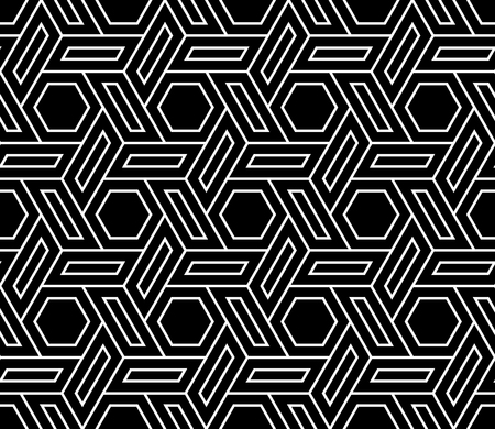Vector modern seamless geometry pattern hex, black and white abstract geometric background, subtle pillow print, monochrome retro texture, hipster fashion design Stock Illustratie