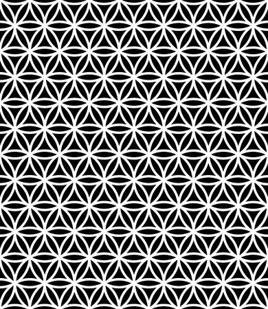 Vector moderne nahtlose heilige Geometrie Muster Blume des Lebens, schwarze und weiße abstrakte geometrische Hintergrund, subtile Kissen Druck, Monochrom Retro Textur, hipster Mode-Design Vektorgrafik