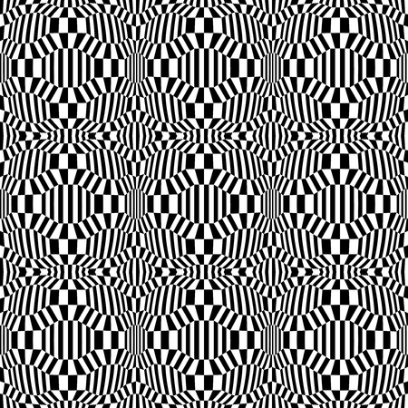 trippy: Vector hipster abstract psychadelic geometry trippy pattern with 3d illusion, black and white seamless geometric background, subtle pillow and bad sheet print, creative art deco, simple texture, modern fashion design Illustration
