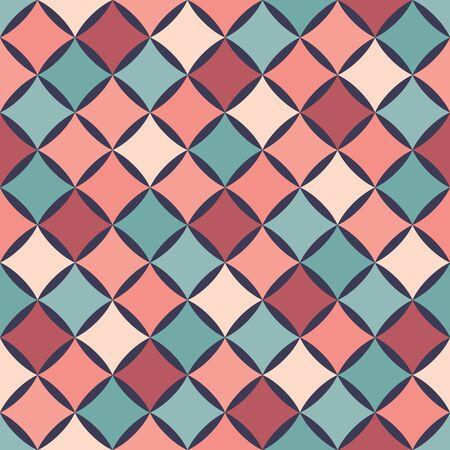 Modèle de géométrie colorée transparente moderne de vecteur, fond géométrique abstrait de couleur, impression multicolore d'oreiller, texture rétro, design de mode hipster