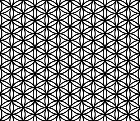 modern seamless sacred geometry pattern flower of life, black and white abstract geometric background, subtle pillow print, monochrome retro texture, hipster fashion design Vettoriali