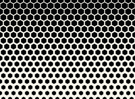 Abstract geometric black and white graphic halftone hexagon pattern