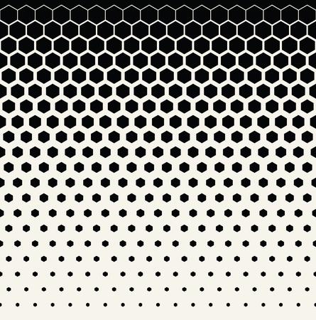 抽象的な幾何学的な黒と白のグラフィック ハーフトーン六角形パターン