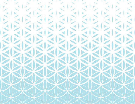 Abstract sacred geometry blue gradient flower of life halftone   pattern