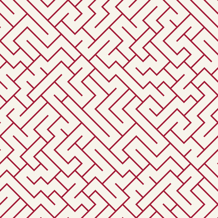 Vector graphic abstract geometry  maze pattern. red seamless geometric labyrinth background . subtle pillow and bed sheet design. unique art deco. hipster fashion print