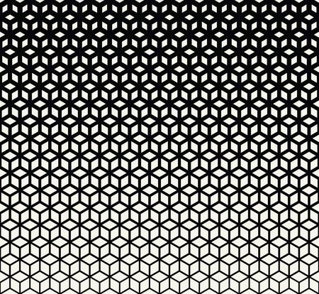 Abstracte heilige geometrie zwart-wit raster halftone kubussen patroon Vector Illustratie