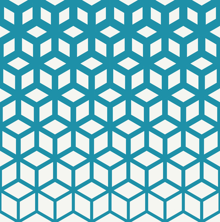 seventies: Abstract sacred geometry blue grid halftone cubes pattern Illustration