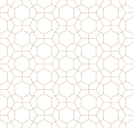 bed sheet: Hexagon geometric line grid pattern vector background