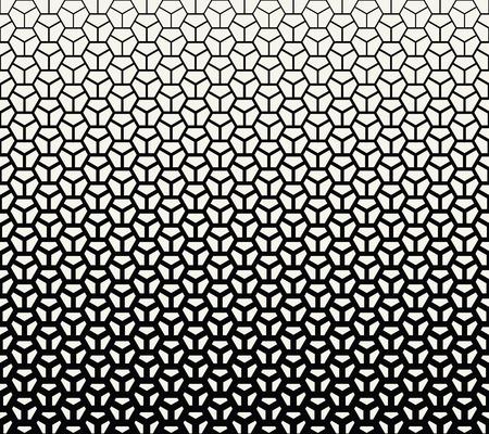 geometric halftone gradient pentagon seamless vector pattern