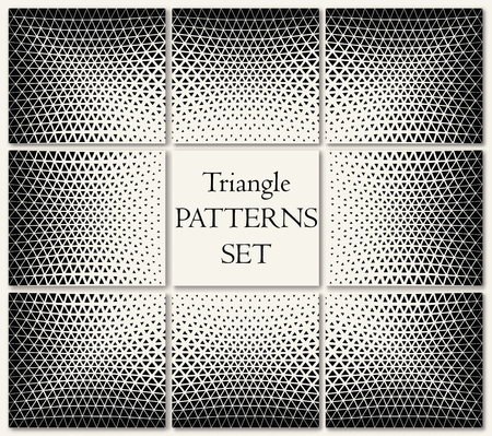 Geometric triangle halftone pattern set Stock Illustratie