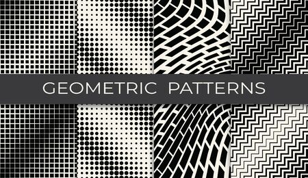 black and white geometric seamless halftone pattern set