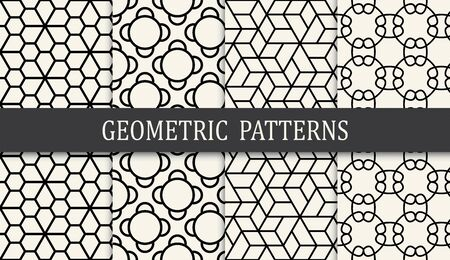 black and white geometric grid pattern set