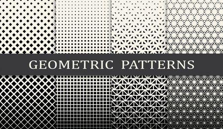 black and white geometric seamless halftone pattern set Vetores