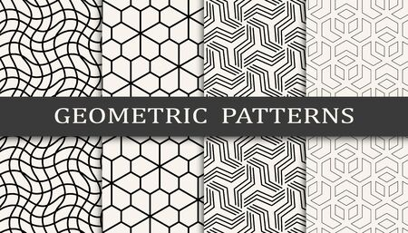 black and white geometric seamless pattern set