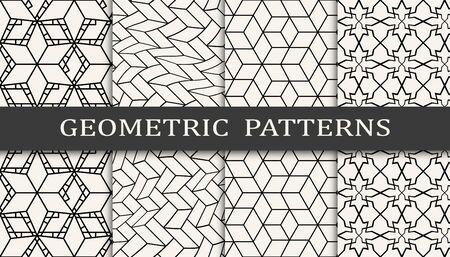 Seamless geometric pattern print set. Fashion background pattern design. Vector illustration.