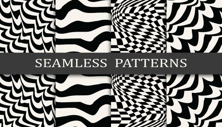 black and white stripes seamless pattern set