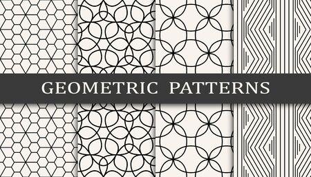 black and white geometric seamless pattern set Ilustracja