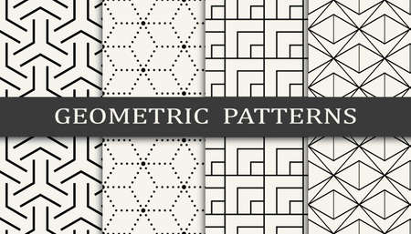 Seamless geometric grid pattern print set. Fashion background pattern design. Vector illustration.