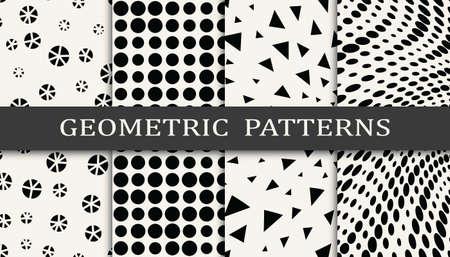 black and white geometric seamless halftone pattern set