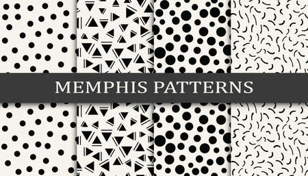 Seamless memphis style pattern print set. Abstract background pattern design. Funky vector illustration.