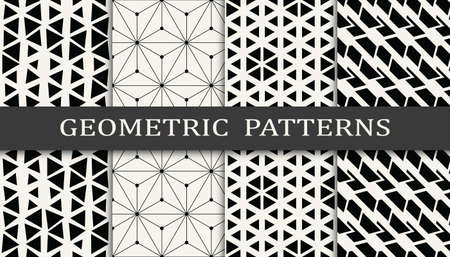 Set of geometric seamless patterns. Abstract memphis style graphic design pattern. Seamless memphis style pattern.